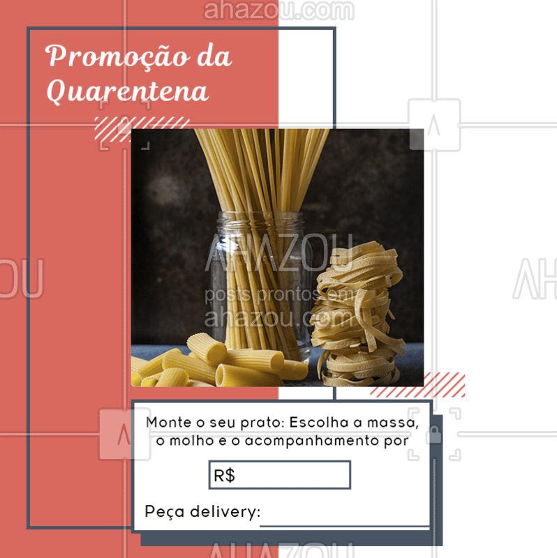 Ninguém melhor do que você para pedir a sua massa favorita do seu jeitinho, por isso preparamos uma promoção especial para você enfrentar essa quarentena com uma deliciosa comida italiana. ? Agora me diz, qual foi o melhor prato que você já montou? Responda nos comentários.  #ComidaItaliana #Massa #MonteoSeuPrato #AhazouTaste #Promoção #Quarentena #FiqueemCasa #Delivery #Gastronomia