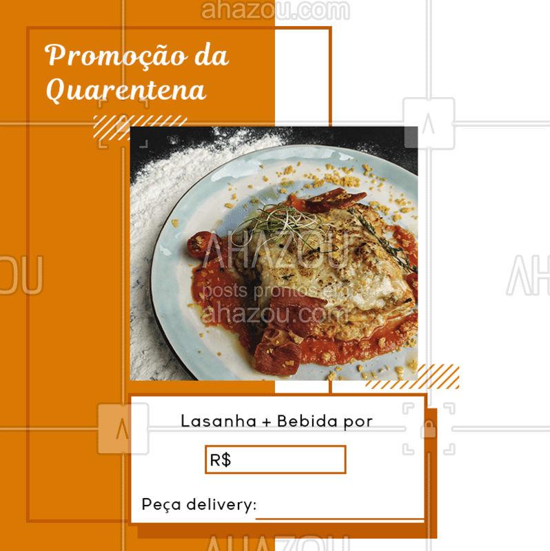 Quem mais ama lasagna? ? Faça o seu pedido: (contato) #ComidaItaliana #Massa #MonteoSeuPrato #AhazouTaste #Promoção #Quarentena #FiqueemCasa #Delivery #Gastronomia