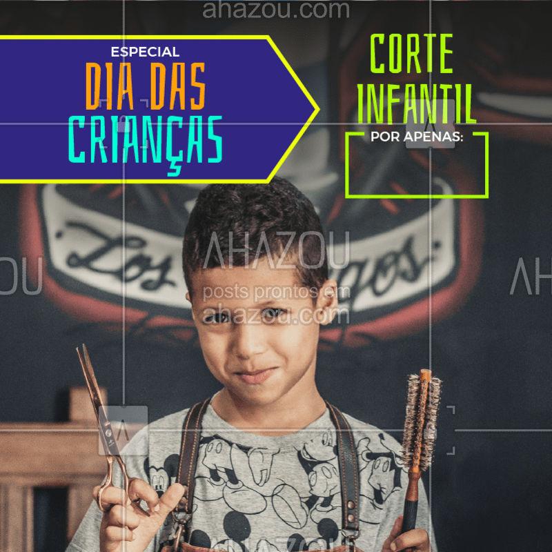 Traga o pequeno para dar um tapa no visual! Aproveite o preço especial ? #diadascriancas #ahazou #cabelomasculino #barbearia #corte