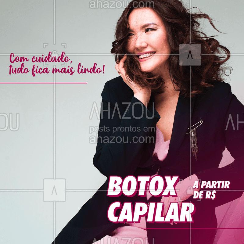 Cuidar do seu cabelo é a melhor forma de te deixar mais linda ainda! Agende seu horário! #Botox #AhazouBeauty #Cabelo