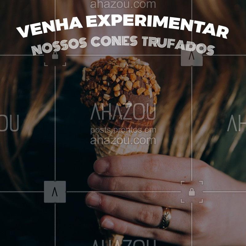 Já conhece nossos cones trufados? Você vai se apaixonar! ? #conetrufado #ahazoutaste #cone #chocolate #doces #doceria