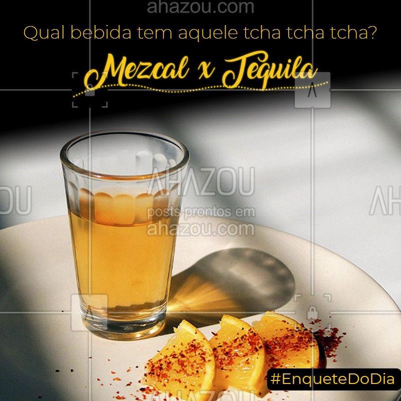 As duas são feitas do coração de uma planta chamada Agave, que brota em terras vulcânicas e de clima árido. A diferença é que a Tequila só pode ser produzida por um tipo de Agave (Agave Azul), já o Mezcal pode ser produzido por mais de 30 tipos desta planta. E aí, qual sua preferência? #mezcal #tequila #ahazoutaste  #comidamexicana #cozinhamexicana #vivamexico #texmex #enquetedodia