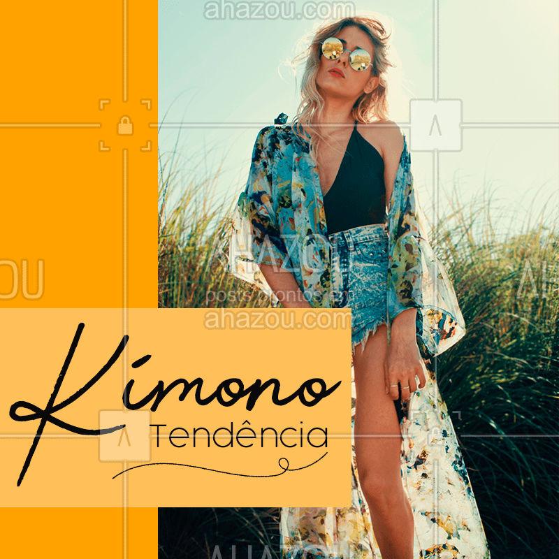 Os kimonos chegaram para ficar e com aquele ar de atemporâneo! Ótimo para dias quentes e para os dias frios, a peça pode ser estampada, lisa, curta ou longa! ? #kimono #moda #ahazou #tendencia #bandbeauty