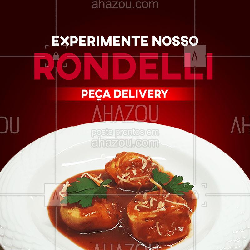 Já conhece nosso Rondelli Caprese? Rondelli com recheio de muzzarela de búfala, tomate seco e manjericão. Peça já o seu pelo nosso delivery! #ahazoutaste  #massas #cozinhaitaliana