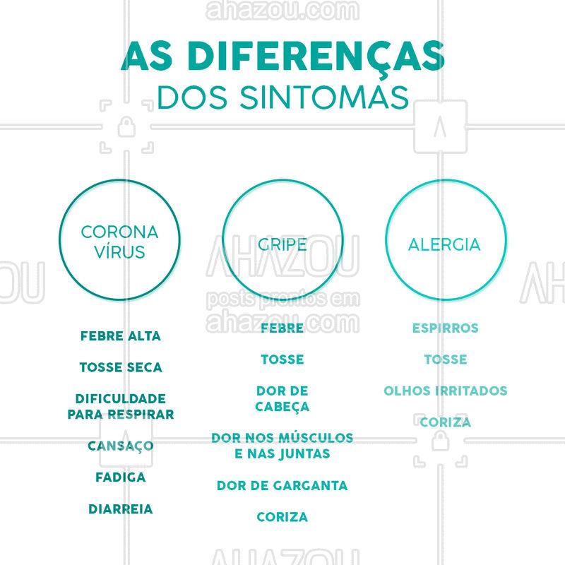 É muito importante entender as diferenças desses sintomas e se informar direitinho. Caso sinta sintomas de corona, vá ao médico! #saúde #ahazousaude #sintomas