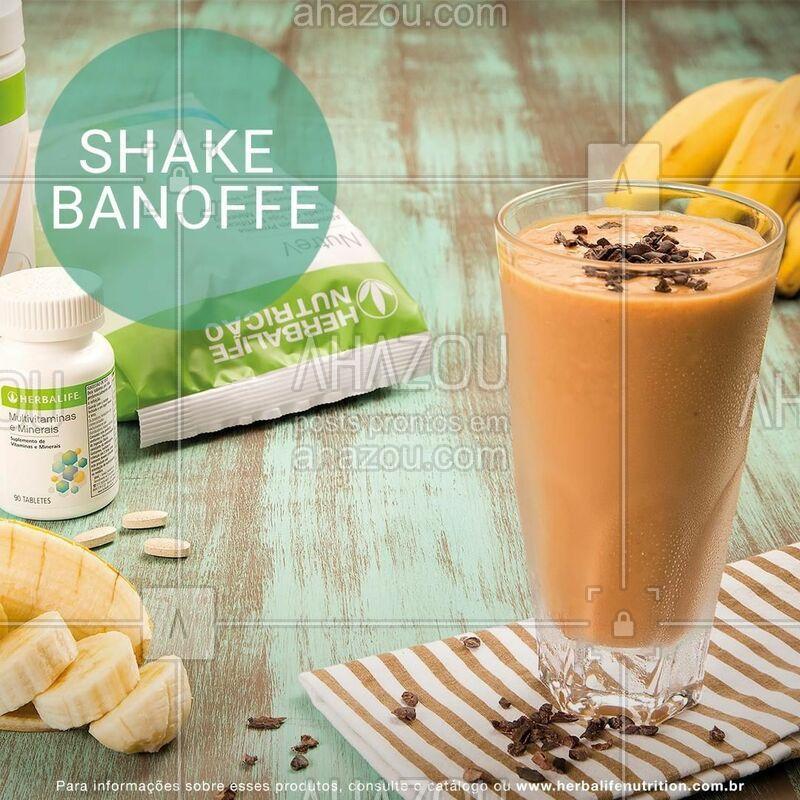 Para começar bem o dia, que tal um café da manhã delicioso e nutritivo? Confira a receita abaixo do Shake Banoffe com Shake sabor Doce de Leite e NutreV!    • 2 e ½ colheres (sopa) de Shake Doce de Leite; • 2 e ½ colheres (sopa) de NutreV; • 1 banana congelada ou in natura; • 1 colher (sopa) de cacau nibs; • 250 ml de água.  MODO DE PREPARO: separe ½ colher (sopa) do cacau nibs. Bata todos os outros ingredientes no liquidificador com água. Coloque em um copo e acrescente o restante do cacau nibs para decorar e trazer crocância! Sugestão: colocar a banana congelada traz mais cremosidade ao Shake Herbalife Nutrition.  #herbalife #ahazouherbalife #shake