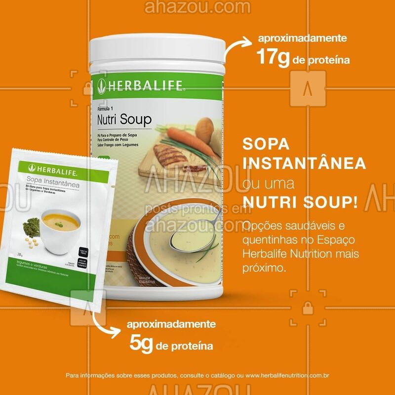Quer fazer uma refeição quentinha e saborosa? Vá a um Espaço Herbalife Nutrition e peça uma Sopa Instantânea ou uma Nutri Soup! Além de serem deliciosas, são ótimas opções saudáveis. ;) #herbalife #ahazouherbalife #saude #nutrisoup
