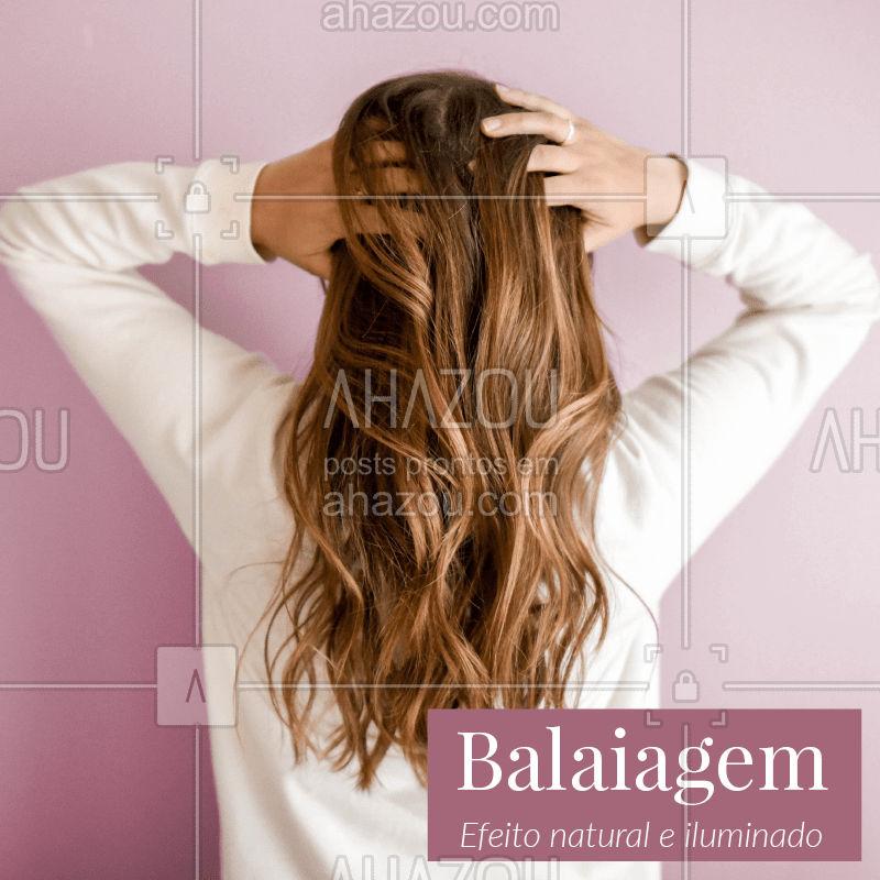 Quer clarear os fios sem ficar completamente loira? Hoje existem diversas opções para um visual iluminado! A balaiagem é uma técnica que utiliza mechas finas e espalhadas no cabelo, para dar um efeito natural. Aposte nessa tendência! #cabelo #balaiagem #ahazou #tendencia #cabeleireiro