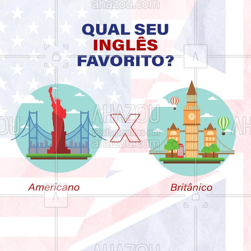 Assim como o português brasileiro e o de portugual tem suas diferenças, o inglês britânico e americano também tem, que vão além do sotaque, como palavras diferentes para descrever a mesma coisa, por exemplo. Então, qual é o seu inglês favorito? Compartilhe com a gente nos comentários. #AhazouEdu  #aulasdeingles #london #america