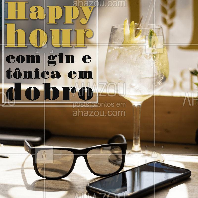 Não  perca o melhor happy hour, com gin tônica em dobro até as XXh. Chame a galera e vem pra cá! ? #bar #bares #ahazou #gintonica #promocao