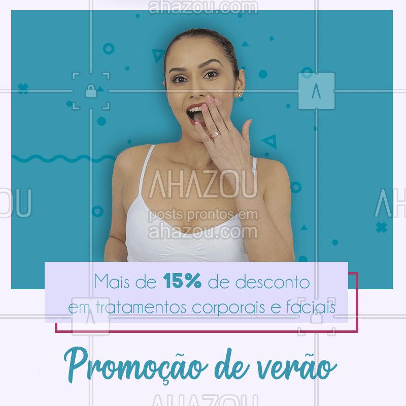 Venham conferir nossos tratamentos corporais e faciais que estão com 15% de desconto nesse verão! ☀  #Estéticacorporal #estéticafacial #verão #promoção #ahazou #bandbeauty #desconto #vemsecuidar