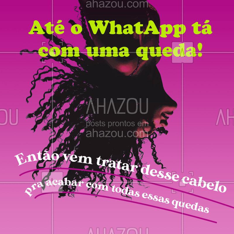 Percebeu que o Whatsapp caiu hoje? Vem pra cá tratar os seus fios e acabar com as quedas de vez! ?♀ #AhazouBeauty #estetica #beauty #beleza #whatsapp #whatsappcaiu #AhazouBeauty