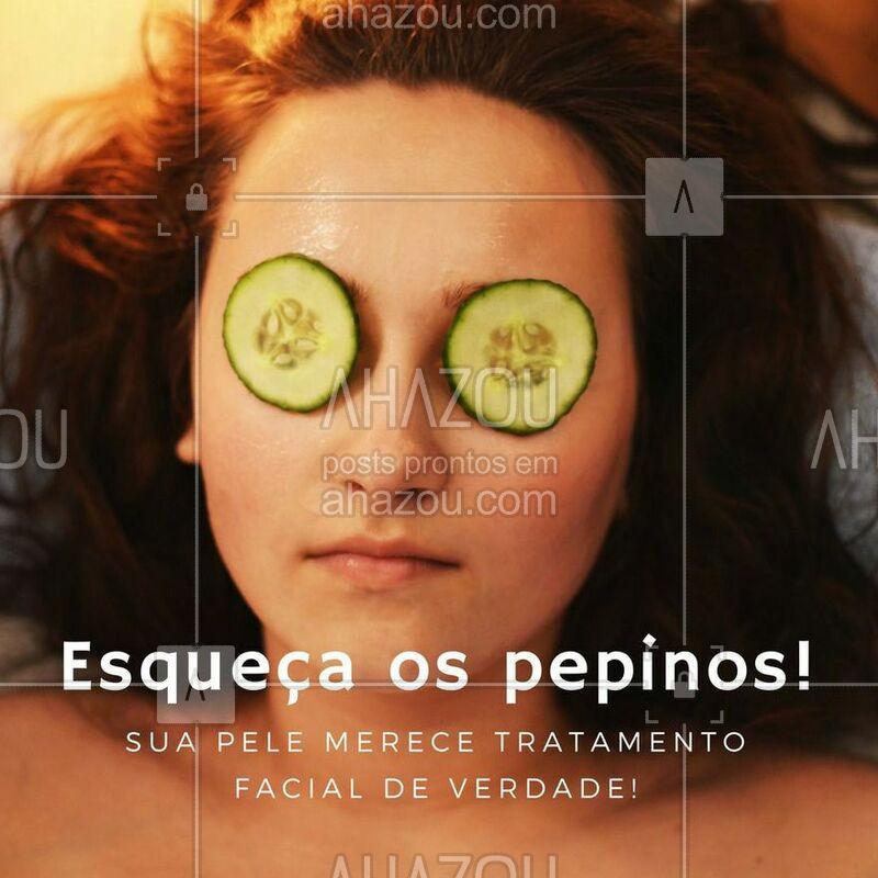 Se quiser um resultado mais impactante, esqueça os pepinos e venha fazer um tratamento facial para a sua pele. Agende agora o seu horário #tratamentofacial #beleza #ahazou #autoestima #bemestar #pelesaudavel #hidratacao