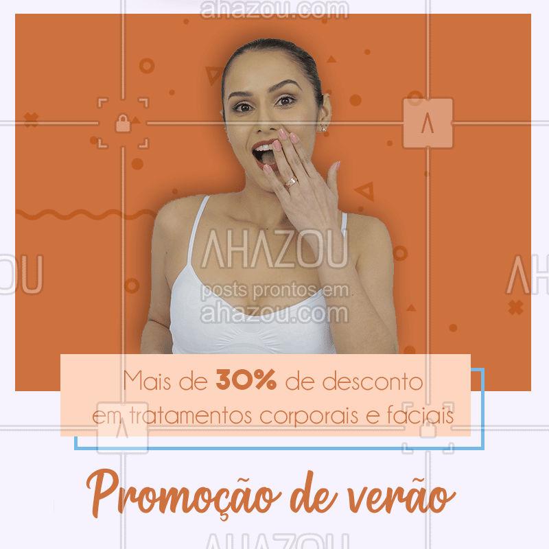 Venham conferir nossos tratamentos corporais e faciais que estão com 30% de desconto nesse verão! ☀  #Estéticacorporal #estéticafacial #verão #promoção #ahazou #bandbeauty #desconto #vemsecuidar