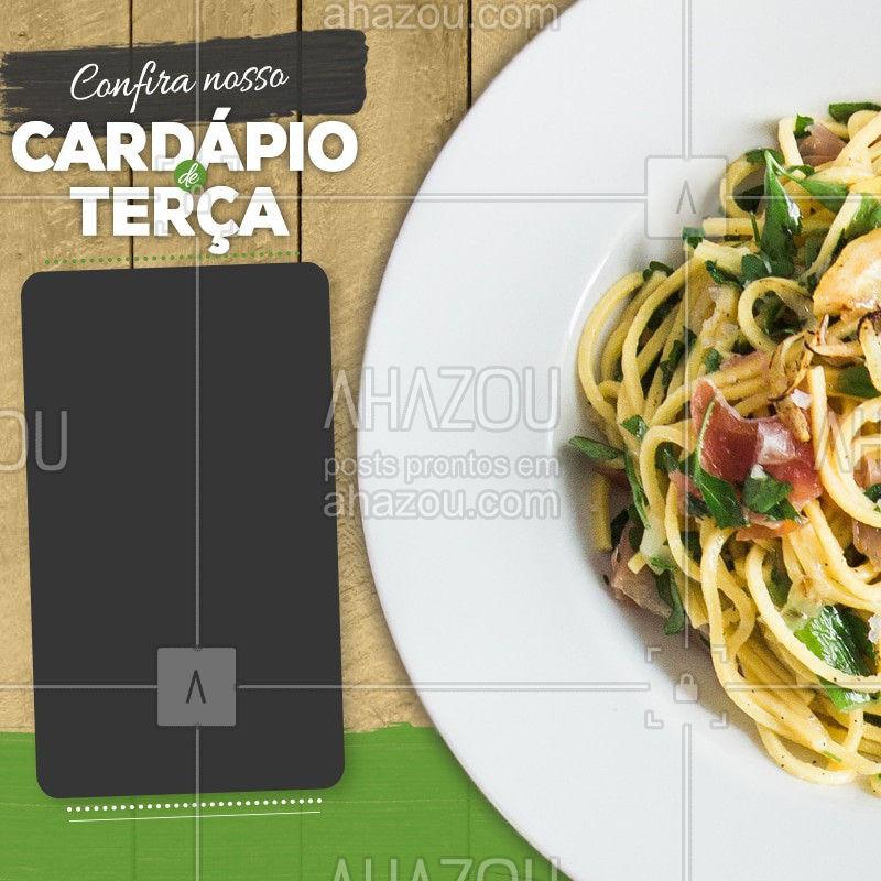 Confira nosso cardápio de terça-feira. #Cardapio #Ahazou #Restaurant