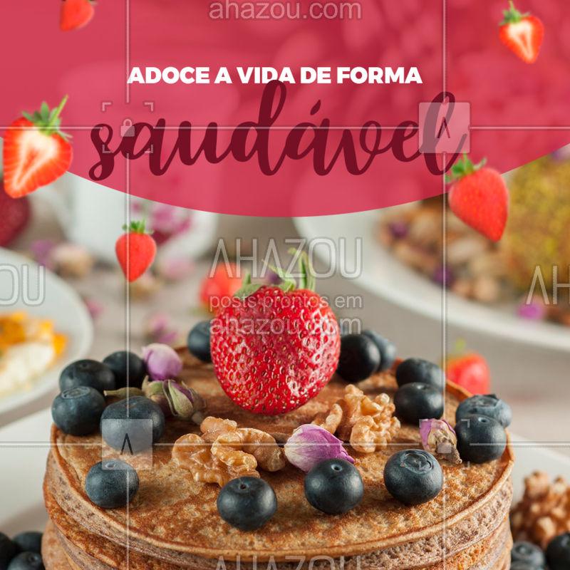 Essa é pra você que quer comer um docinho sem se preocupar com os quilinhos! #ahazou #doce #saudavel #panquecas #morango