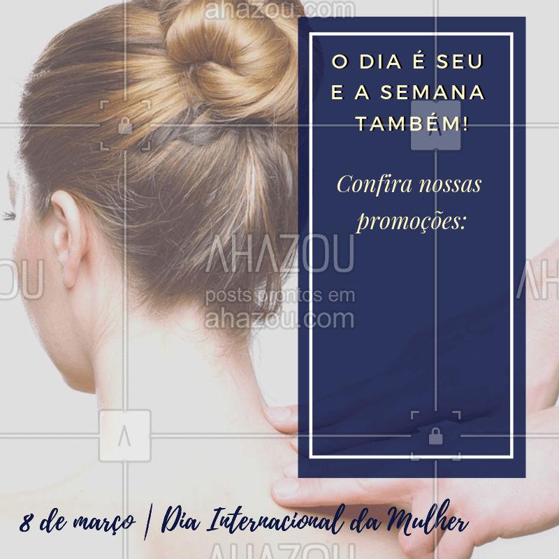 Como dizem por aí: O dia da mulher é todo dia!? Aqui é a semana toda com dedicação total ao seu corpo! Gostou das promoções? Então corre para agendar o seu horário com a gente. *VAGAS LIMITADAS* #beleza #diadamulher #8demarco #ahazou #massagem #terapia