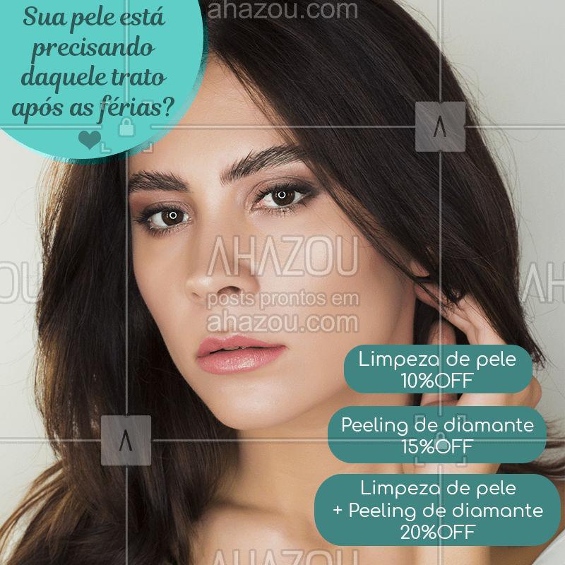 ✨ Cuidar da pele nunca foi tão fácil!  • ? Limpeza de pele: 10% OFF • ? Peeling de diamante: 15% OFF • ? COMBO Limpeza de pele + Peeling de diamante: 20%OFF . ? Promoção válida do dia __/__ a __/__/2020 Venha conferir e agendar!   #beauty #beleza #cuidados  #esteticafacial #ahazou #procedimentos #bandbeauty  #tratamento #promocao #promo
