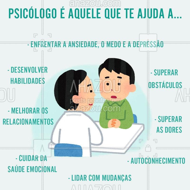 Algumas pessoas ainda tem medos, ou receio de ir a um psicólogo. Nosso maior objetivo é ajudar você em qualquer fase da vida #ahazousaúde #psicólogo #psicologia #saúdemental