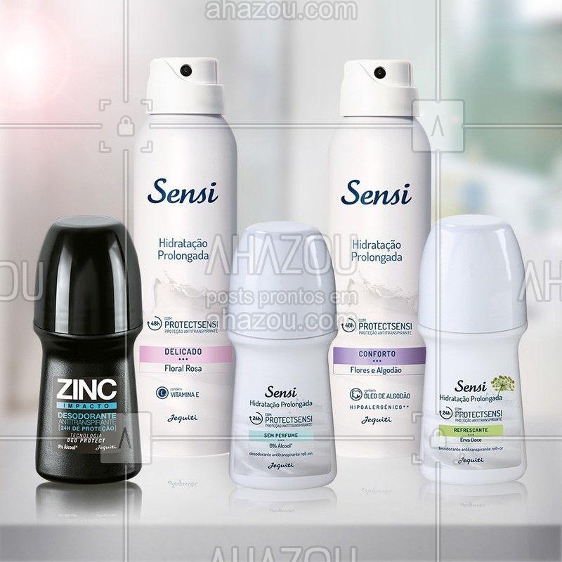 Sensi e Zinc oferecem diversas opções de Desodorantes; com certeza, alguma delas se adequa à sua necessidade e preferência. ⠀ ⠀ #Sensi #Zinc #ahazoujequiti #DesodorantesSensi #DesodoranteZinc
