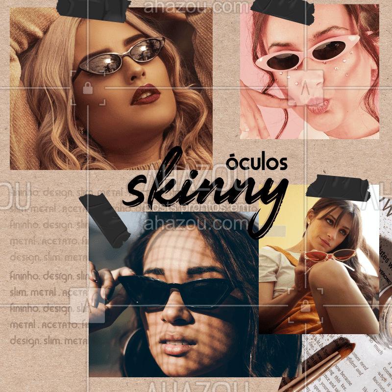 Os #SkinnyGlasses se tornaram o acessório mais fashionista dos últimos tempos e vem conquistado cada vez mais seu espaço nas produções. Fato é que esse modelo traz mais personalidade ao look e suas produções são capazes de montar um combo recheado de tendência e estilo! . Várias celebridades já adotaram o queridinho das passarelas e desfilam seus modelos fininhos por aí. E, você o que acha dessa tendência? #skinny #glasses #AhazouFashion #AhazouÓticas #lookdodia #fashion