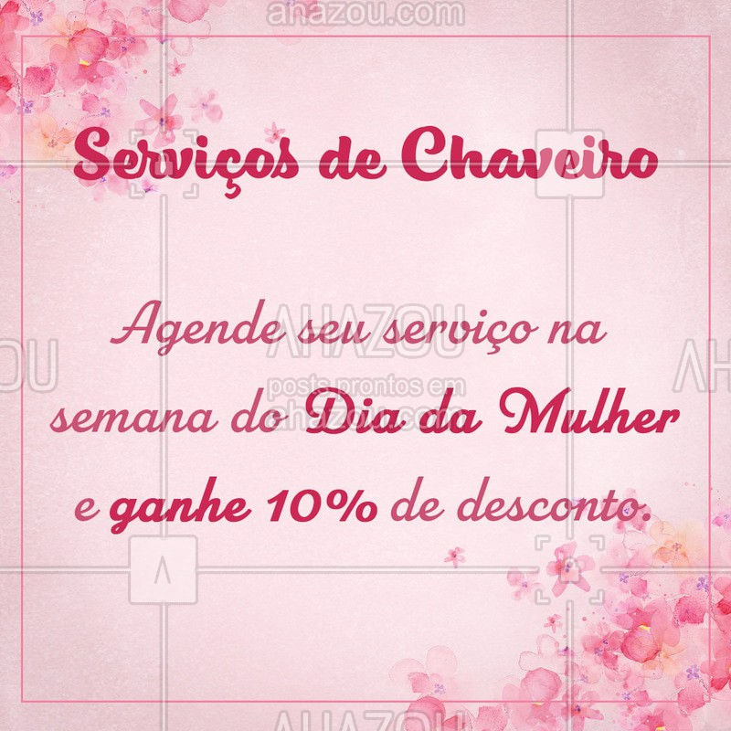 Para você passar o seu dia despreocupada. ? ???#serviçosparacasa #Ahazou #chaveiro #semanadamulher #diadamulher #desconto