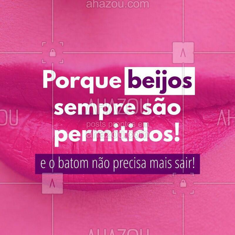 Beijos são permitidos, mas boca suja de batom não mais. #beijos #batom #makeup #ahazou #beleza #maquiagem #autoestima #maquiadora #consultora