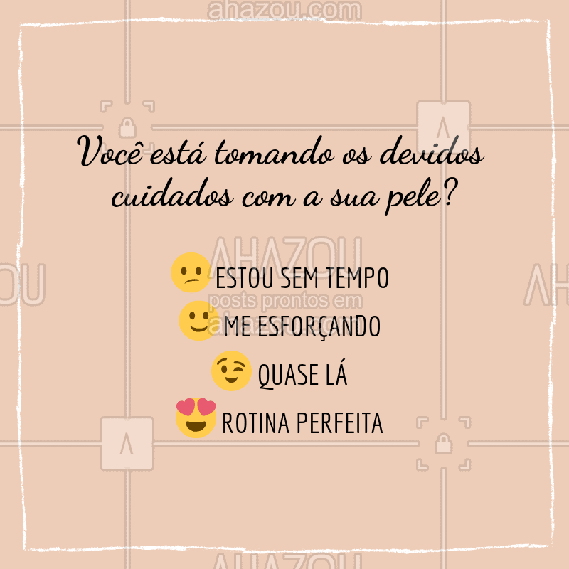 Me conta aqui nos comentários como você esta se saindo! ? Quero saber! ? #esteticafacial #ahazouestetica #skincare #cuidadoscomapele #enquete