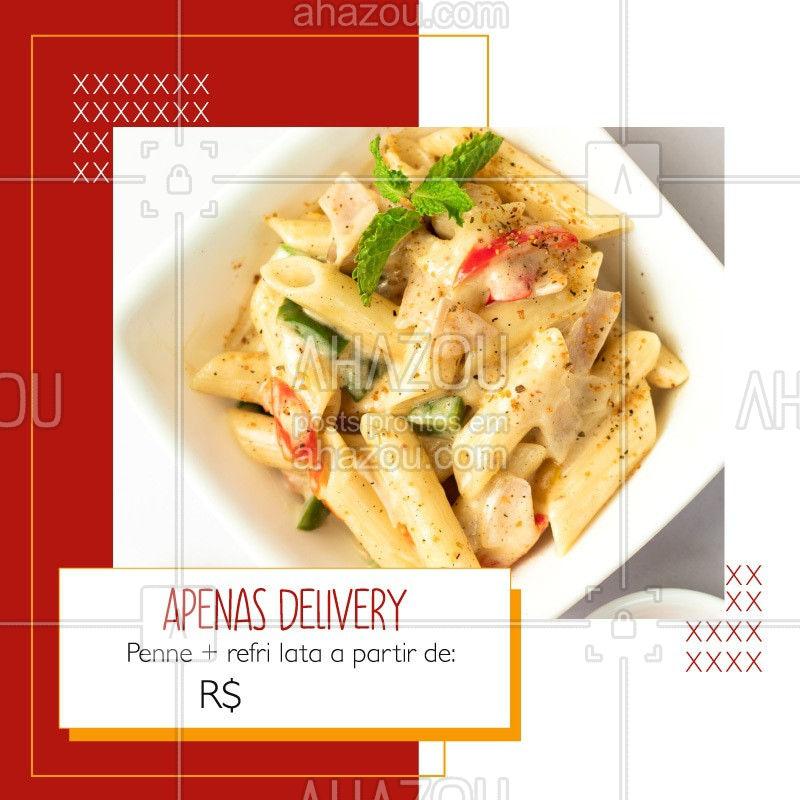 Devido a quarentena, estamos atendendo apenas via delivery, porém, não deixe de aproveitar nossa promoção de penne + refri latal a partir de R$XX. Entre em contato pelo whatsapp xxxxx-xxxx e consulte os sabores disponíveis. #ahazoutaste#delivery #covid19 #coronavirus #cozinhaitaliana #penne #culinariaitaliana