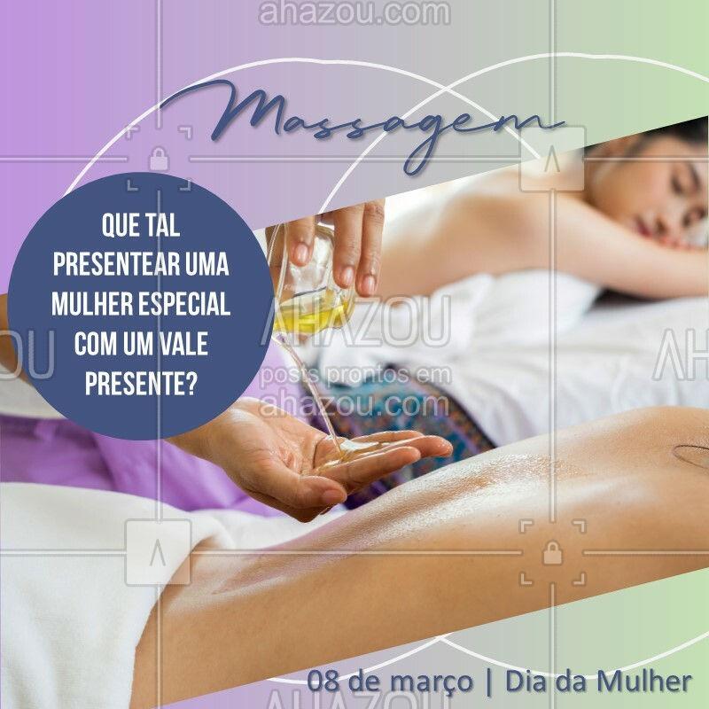 Entre em contato e conheça nossas opções para a semana da mulher. ???♀?♀? #massoterapia #Ahazou #massagem #diadamulher #semanadamulher #valepresente
