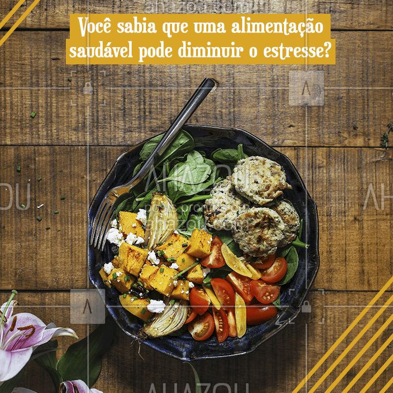 Uma alimentação balanceada pode trazer diversos benefícios para a sua saúde mental. A alimentação correta pode melhorar o humor, combater a depressão e ainda manter o organismo em equilíbrio. Fique de olho no prato! #alimentacaosaudavel #ahazou #estresse
