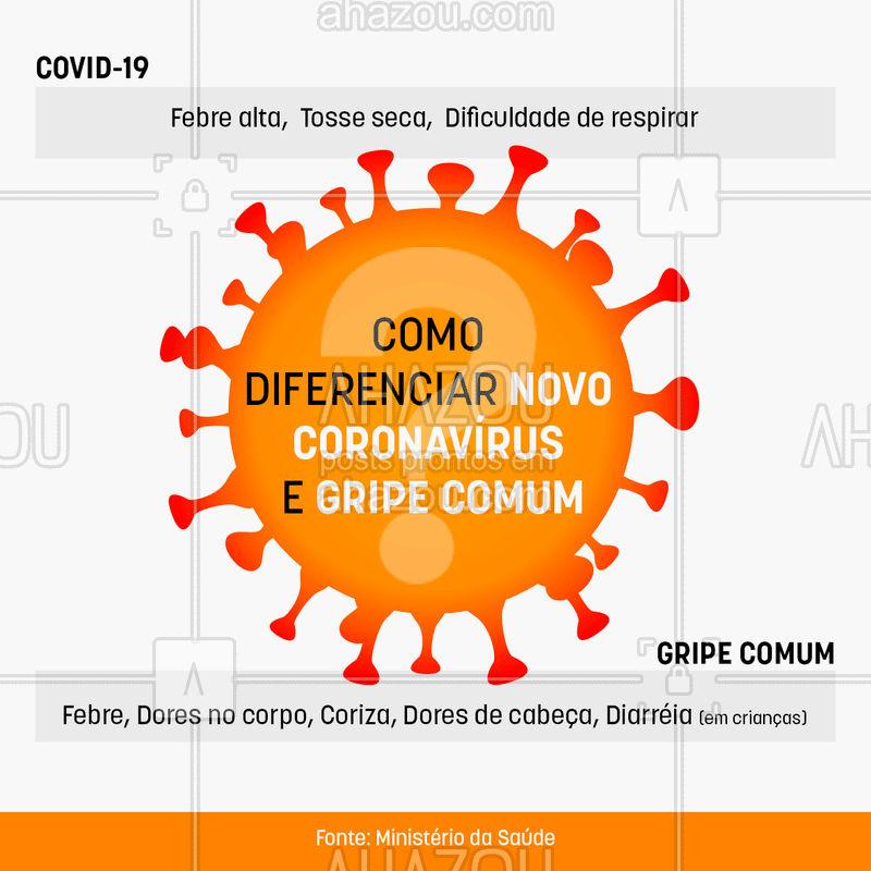 Nesse momento é quase impossível não ficar ansioso quando damos um espirro, ou tossimos, não é mesmo? ? Embora não exista um diagnóstico preciso sem o teste, vale a pena conhecer as principais diferenças para não ficarmos paranóicos com uma simples resposta do organismo, como o ato de espirrar.  ? #saude #bemestar #AhazouSaude  #coronavirus #novocoronavirus #covid19 #gripe