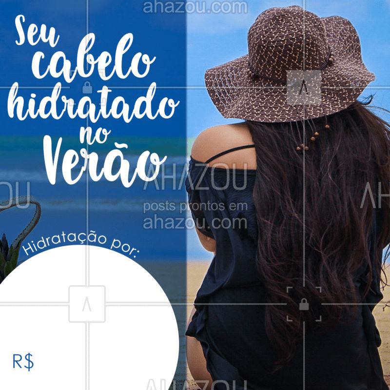 O verão chegou e com ele muito sol e praia/piscina, mas não esqueçam de manter sempre seus cabelos hidratados! Agende agora! #ahazou #verão2020 #hidratação #cabelo