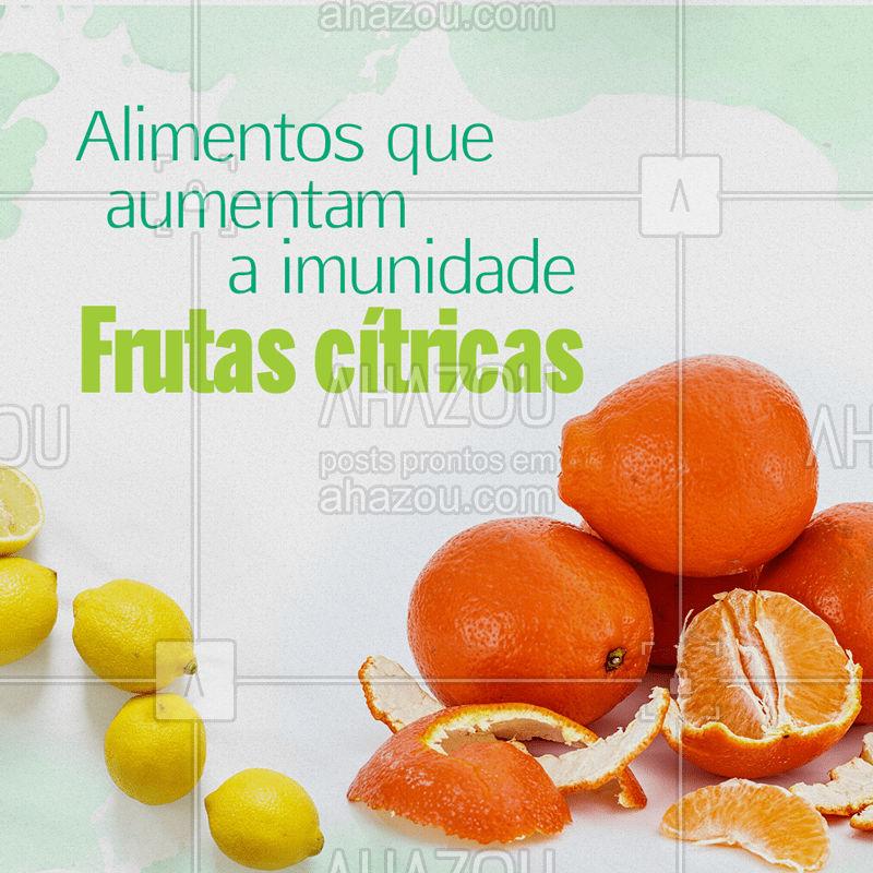 A alimentação é uma grande aliada no fortalecimento do sistema imunológico! Manter uma alimentação saudável é a chave para manter a saúde em dia e evitar gripes e resfriados. Veja como as frutas cítricas podem te ajudar: a laranja, acerola, limão, kiwi, e morango são ricas em vitamina C, antioxidantes, têm fibras, flavonóides e propriedades anti inflamatórias. Não deixe de consumir essas frutas nutritivas nos seu dia-a-dia. #saude #bemestar #ahazou #alimentacao #imunidade #frutas #resfriado #gripe