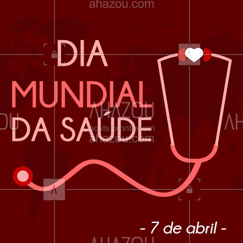 O Dia Mundial da Saúde é de conscientização sobre a necessidade de cobertura e acesso à saúde, comemorado todos os anos no dia 7 de abril. E você tem cuidado da sua? #7deabril #setedeabril #diamundialdasaude #diadasaude #conscientizacao #health #healthday #ahazou #cuidadese #care #takecare