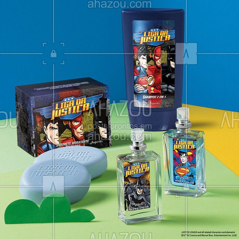 Você economiza muito na compra da linha Liga da Justiça completa: tem Shampoo, Sabonetes em Barra e Perfume do herói preferido do seu garoto! ⠀  #LigaDaJustiça #Batman #ahazoujequiti #Superman