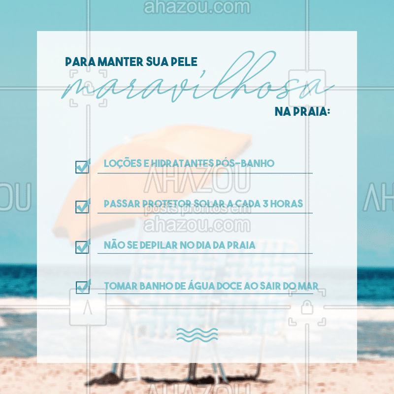 Pra manter a pele linda e saudável nesse verão, não tem muito segredo! Aposte nessas dicas e aproveite as férias do melhor jeito possível! #pele  #skincare  #esteticafacial  #estetica  #verao  #praia  #summer #beach