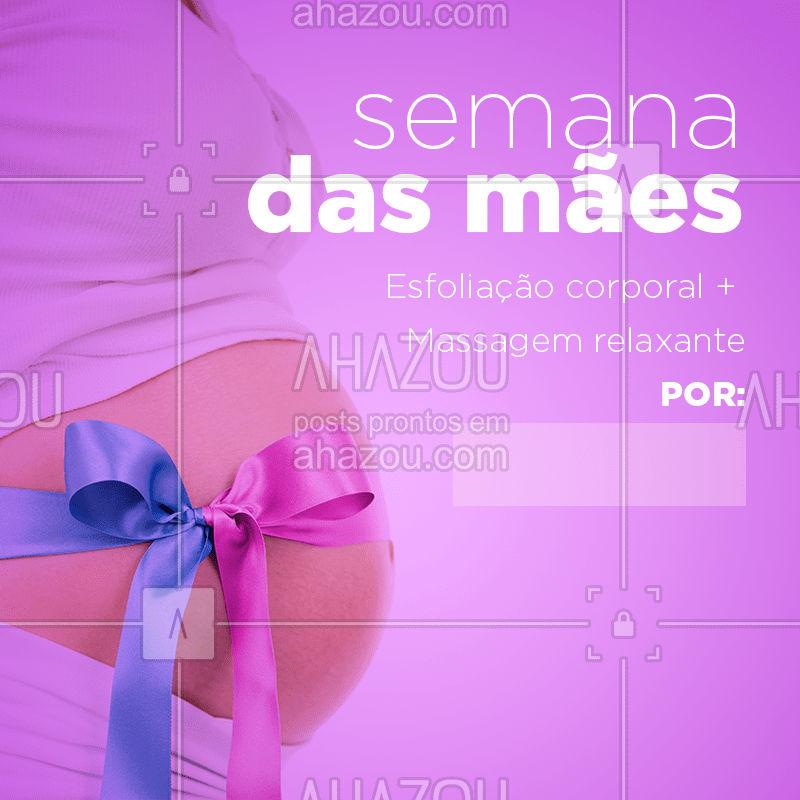 Sua mãe merece este presente mega especial! Agende um horário e traga a sua mãe para um dia relaxante! ? #esteticafacial #esfoliacaocorporal #ahazou #diadasmaes #massagemrelaxante