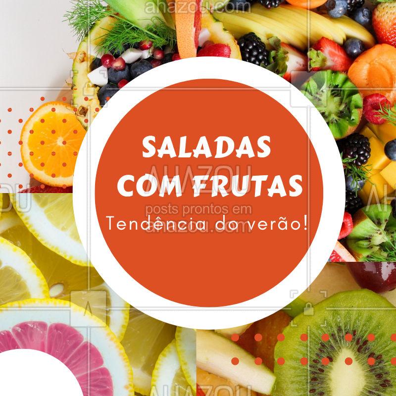 Verão pede uma salada refrescante, né? Elas ficam ainda melhor com combinações de frutas. Experimente! #saladas #frutas #ahazouapp #verao