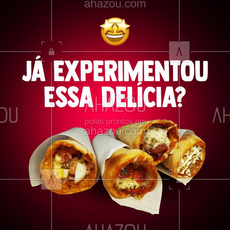 Um cone recheado com os seus sabores preferidos,  uma delícia que você vai agradar o seu paladar, peça já essa novidade pelo delivery! #ahazoutaste #pizzadecone #delivery #novidade