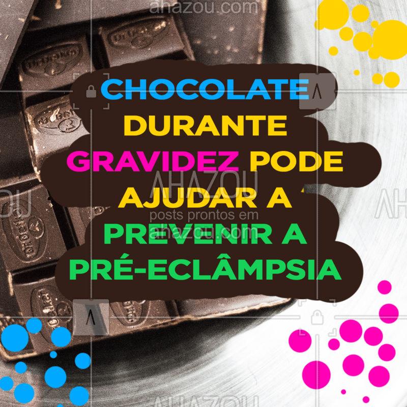 Uma pesquisa da Universidade Yale, nos Estados Unidos, sugere que mulheres que saboreiam a delícia ao menos cinco vezes por semana estão 40% menos propensas a desenvolver o problema do que aquelas que a consomem menos de uma vez. Chocolate também é saúde!  #chocolate #páscoa #ahazou #grávidas