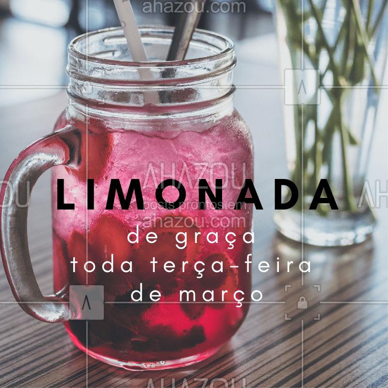 Limonada de graça toda terça-feira do mês de março! #hamburgueria #ahazou #limonada #gratis