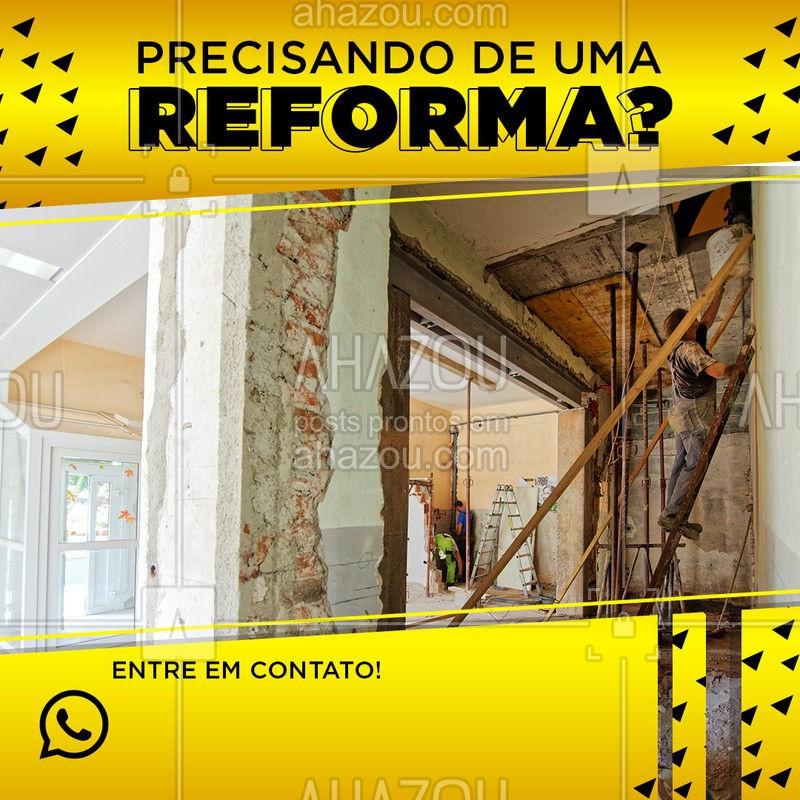 Precisando dar uma reformada no seu apartamento/casa?  Nós temos o serviço perfeito para você e para o seu bolso!  Entre em contato! Peça um orçamento!   #AhazouServiços #orçar #pedreiro #reformas #contato #orçamento #pedreidroOrçamento