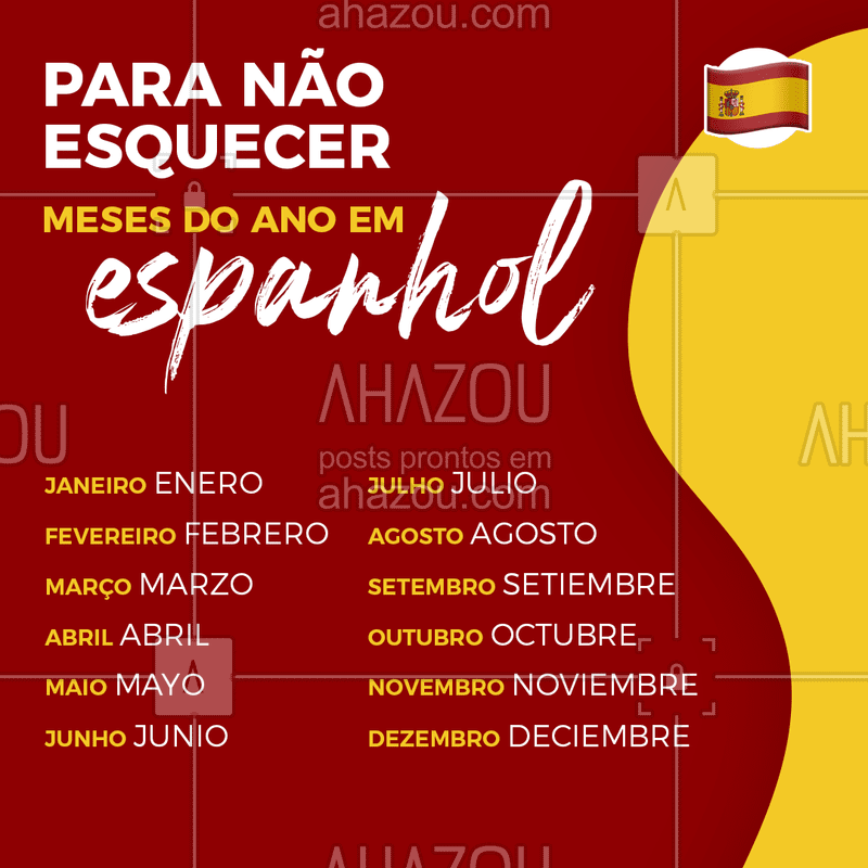 Confira os 12 meses do ano em espanhol! #espanol #dicasdeespanhol #ahazou  #ahazoueducacao  #linguas  #cursodelinguas #espanhol