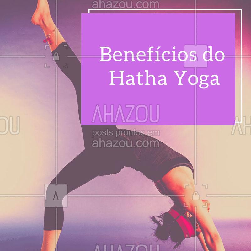 Benefícios num longo prazo: A prática de hatha yoga pode lhe ajudar a reconhecer seu maior potencial físico e mental. A flexibilidade e força também podem vir num longo prazo através deste método devido ao ritmo da aula.  Benefícios num curto prazo: Através dos exercícios de relaxamento ou meditação, sentirá diferenças na sua energia e é provável que sua resposta a situações de estresse mude rapidamente. #hathayoga #beneficios #ahazousaude #yoga #saude #bemestar