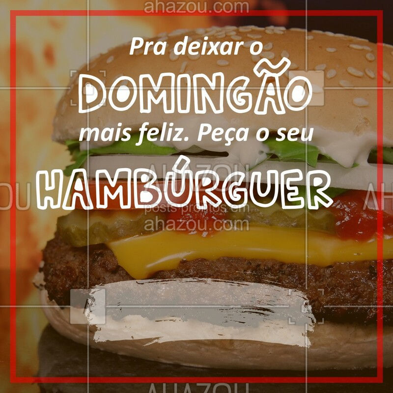 Domingo é dia de preguiça, mas também é dia de hambúrguer no conforto da sua casa! Ligue pra gente e garanta o seu! #hamburguer #burger #ahazougastronomia #ahazouapp #amorporhamburguer #food #domingo