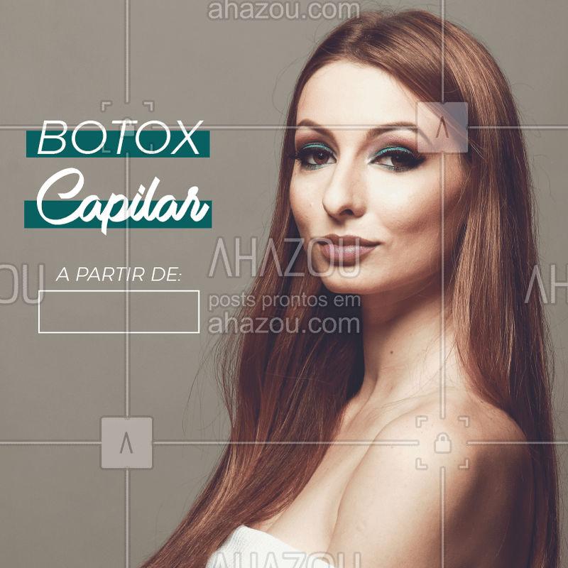Aproveite o precinho especial e agende agora mesmo o seu horário! ✨ #botoxcapilar #ahazou #cabelo #promocao