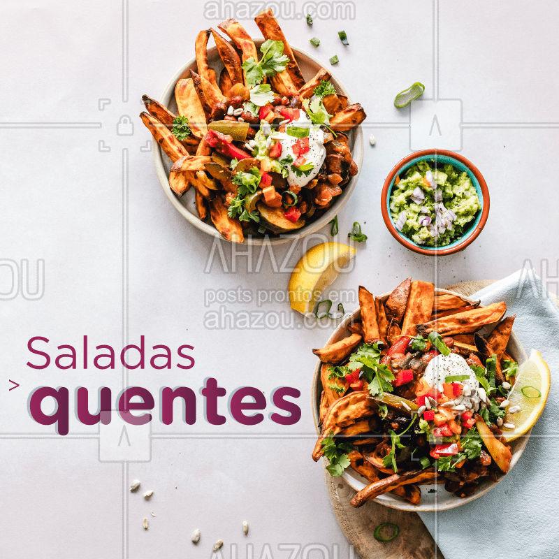 O finalzinho de inverno combina com uma deliciosa salada quente! Venha conferir  essa receita gostosa e prática:  Salada quente de legumes✍ Ingredientes: 1 Abobrinha, 1 Berinjela, 1 Pimentão vermelho, 1 Cebola média, 1/2 batata doce gratinada ao forno, Sal e azeite a gosto. Misture tudo e se delicie! #saude #receitas #saudaveis #salada #inverno #ahazou #braziliangal