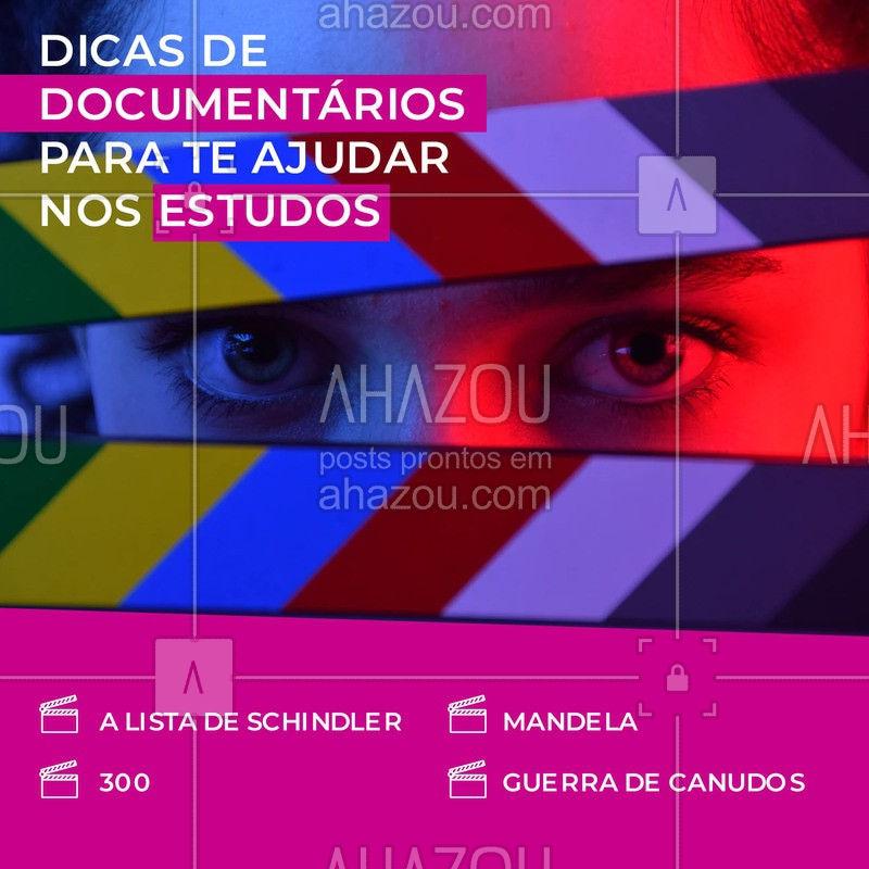 Estes filmes vão te ajudar a conhecer melhor sobre a história e tirar boas notas #AhazouEdu #aprendizado #estudo #documentários #história #conhecimento