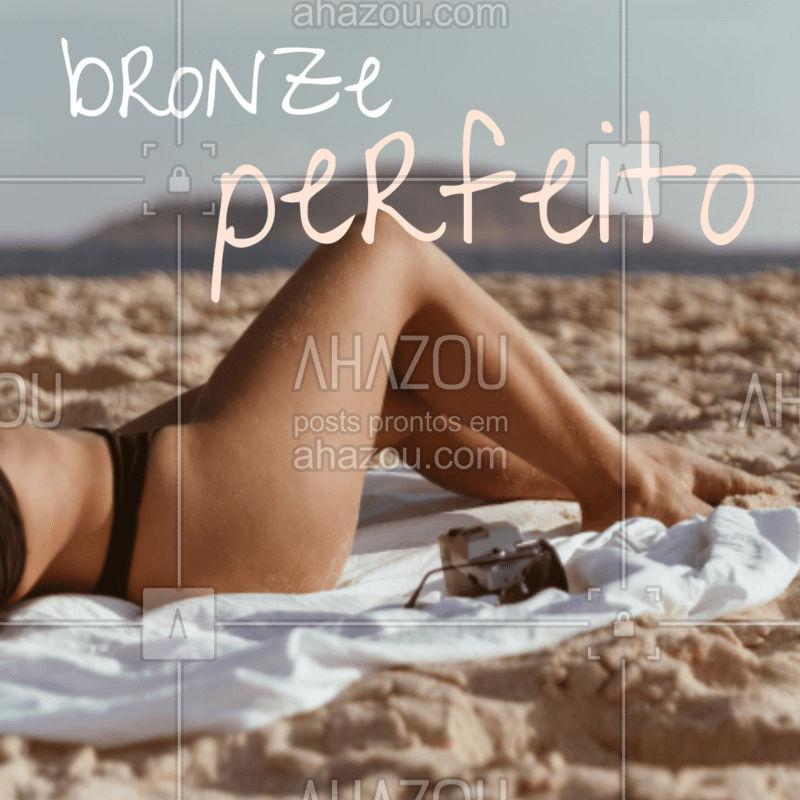 Sabe aquele bronze perfeito com cara de verão? SIM, você pode! Venha conhece o nosso (nome do tratamento para o bronzeamento) e saia com a marquinha do verão! #bronzeamento #ahazou #ahazoubeleza #tratamento #marquinha #cordoverao